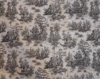 Black & White Toile Print Cotton Fabric, Pastural Print