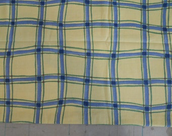 Plaid Cotton Fabric, Yellow, Blue, White, Green, 5th Ave. Design, Yardage