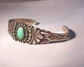 Fred Harvey Era Turquoise Stone and Sterling Silver Bracelet Cuff