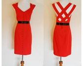 Vintage The Crimson Kitty Dress / Vtg Red Button Wiggle Dress