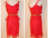 Vtg The Eternal Flame Dress/ Vintage Red Flounce Tiered Ruffle Dress
