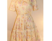 Sale 40 Percent Off Vtg 60s Sunset Garden Party Dress / Vtg 60s Floral Lace Tiered Full Dress