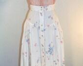 Vtg True Affection Skirt / Vtg Floral Full Skirt with Pockets