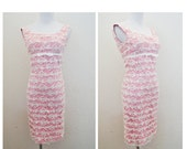 Vtg 60s Bountiful Bows Lace Dress / Vintage Pink and White Lace Bow Dress