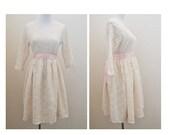 Vtg Sugar Cookie Lace Dress / Vintage Cream Lace Babydoll Dress