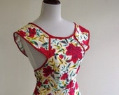 Vintage 1940s Reproduction Red Roses Apron