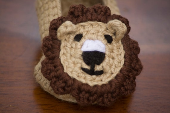 Lion Baby Booties, shoes, slippers, boy newborn-6 months