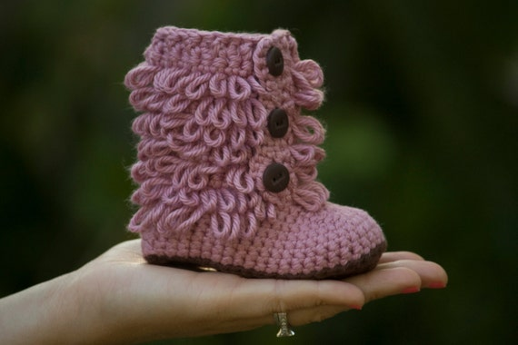 Tall Fringe Baby Booties, Pink and Brown, Girl shoes newborn-6 months, Christmas in July Sale, CIJ