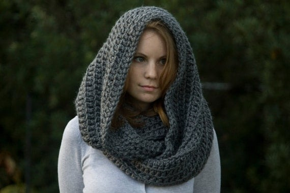 CROCHET PATTERN Oversized Hooded Infinity Scarf Cowl, Christmas in ...