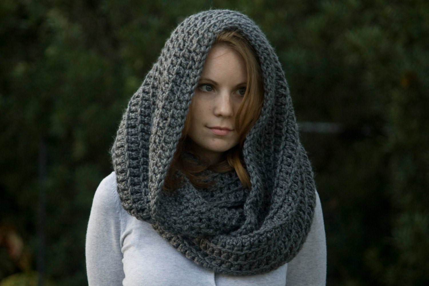 Crochet Patterns Free Hooded Scarf : CROCHET PATTERN Oversized Hooded Infinity Scarf Cowl