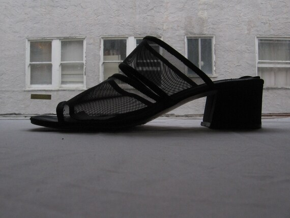 strappy black mesh/sheer sandals 8