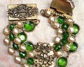 SALE PENDING  Spring Easter Green Pearl Bracelet, 1940-1950, for Her, 4 Strand Glass & Baroque Pearl, Brass Filigree