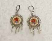 RESERVED Summer Rose Micro Mosaic Earrings, Artisan Vintage Recycled Jewelry