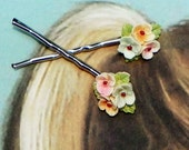 Decorative Celluloid Pastel Flower Hair-Bobby Pins, Pink, Blue, Yellow Floral, Vintage Recycled