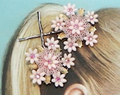 Decorative Summer Celluloid Flower Fashion Bobby-Hair Pins, 1930 1940's Pale Pink Floral AB Aurora Borealis Rhinestone, Vintage Recycled