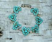 RESERVED  Vintage Turquoise Aqua Rhinestone Hearts Bracelet, Summer Wedding