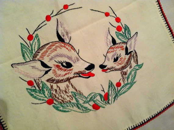 Vintage Christmas Decor Reindeer Deer Table Topper-Runner, 1940-1950s Hand Embroidery