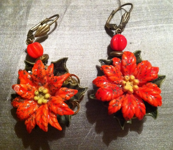 Christmas Retro Earrings Celluloid Red Poinsettia Czech Glass OOAK One of a Kind