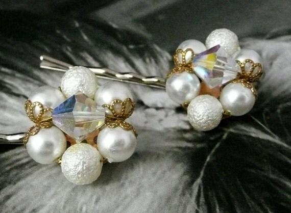 Decorative Bridal Crystal Pearl 40-50's Bobby Pins, Vintage Upcycled