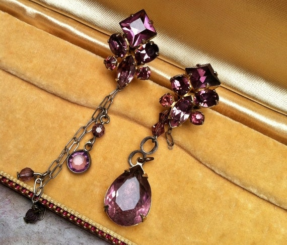 Asymmetrical Purple Amethsyt Czech W West Germany Earrings