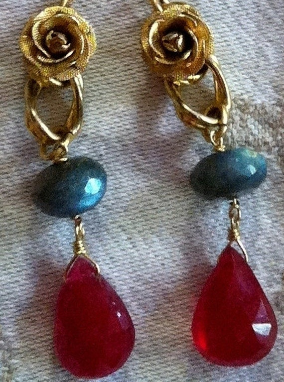 RESERVED Unique Artisan Ruby Labradorite Rose Earrings, Vintage Recycled
