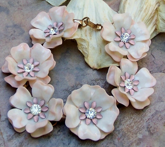 Mad Men Pink Flower Enamel Plastic Bracelet,  Vintage Summer Blossoms
