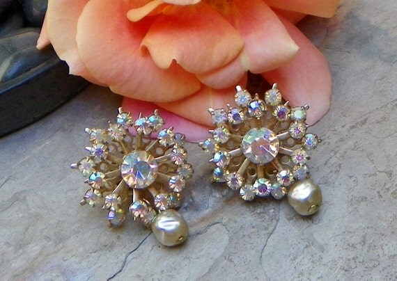 Rainbow Crystal Bridal Rhinestone Vintage Earrings, Artisan Upcycled