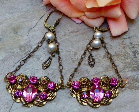 RESERVED Czech W West Germany Bridal Rhinestone Filigree Earrings, Vintage Recycled