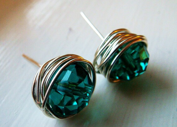 BIG Sparkly Teal Crystal Wire Wrapped Stud Earrings (SHIPPING INCLUDED)