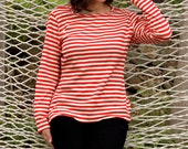 Ahoy Mate - Vintage Red and White Striped Sailor Long Sleeve Shirt