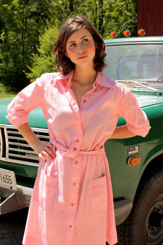 The Lady Jane - Vintage Pink Gingham Work Shirt Dress