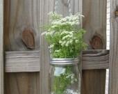 hanging flower vase mason jar canning arrangement flowers floral Ball Kerr rustic woodland country