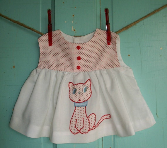 Vintage Baby girl dress white with red polka dot bodice and cat applique red buttons