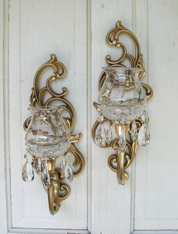 Candle Wall Sconces Vintage : Vintage set of two Syroco Inc gold candle wall sconces with