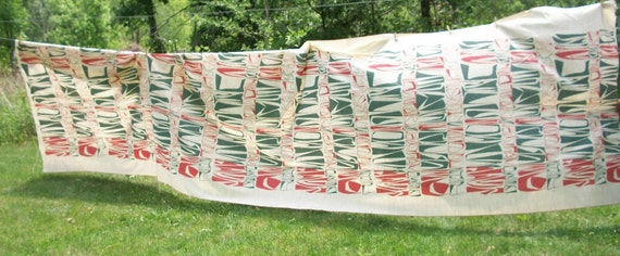 "Vintage Barkcloth Boomerang print fabric 6 1/3 yards 230"" long 66"" wide from Africa Mid Century Modern style"
