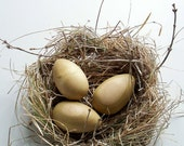 Hand-turned poplar wood eggs and handmade nest