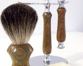 RESERVED - Hand-turned verawood shaving set - razor, stand and badger hair brush
