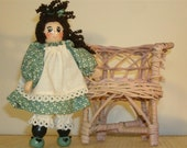 Jointed wooden clothespin doll with personalizable pinafore