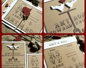 Wedding Invitations - Eco Friendly - 3D Love Birds - Rustic -Recycled Kraft - Red and White