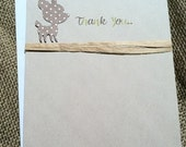 Set of 15 Thank you cards - Deer - Brown Polka Dots - Green - Woodland - Hand-Crafted - Recycled - Eco - New Baby - New Mom