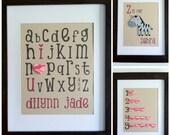 Set of 3 - Alphabet - Numbers - Animal - CUSTOM - Name - 3D Paper Wall Art - Nursery Bedroom - Zebra - Heart - GIRL - BOY - Recycled - Eco