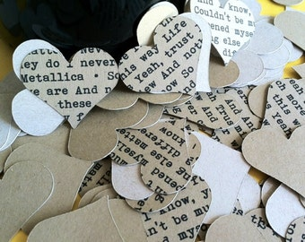 RUSTIC Lyrical Hearts Confetti - WEDDING - Love - Embellishments - CUSTOM -Eco Friendly - Recycled Kraft - Song Lyrics - Vintage