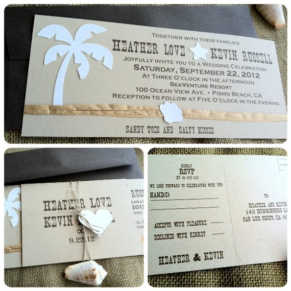 Wedding Invitations - Rustic - Beach - Sandy Toes and Salty Kisses - Recycled