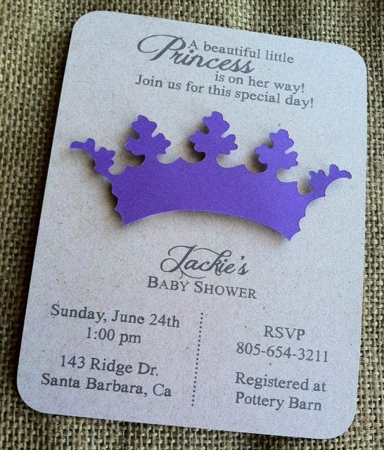 princess tiara crown invitation 3d baby shower by kandvcrafts