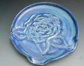 Bright Blue Rose Motif Spoon rest, and butter dish and knife combo