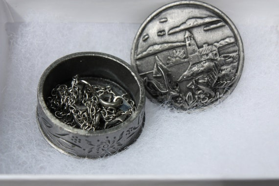 Vintage Pewter Torino Jewelry Set Includes: Trinket box, earrings, neclace, and Brooch-Light House Scene With Seagulls-Amazing, Must See