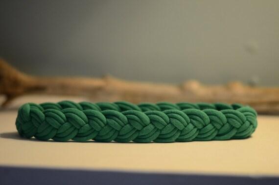 Sailors Knot, Turks Head Knot, Nautical Braided Jersey Knit Headband (Green)