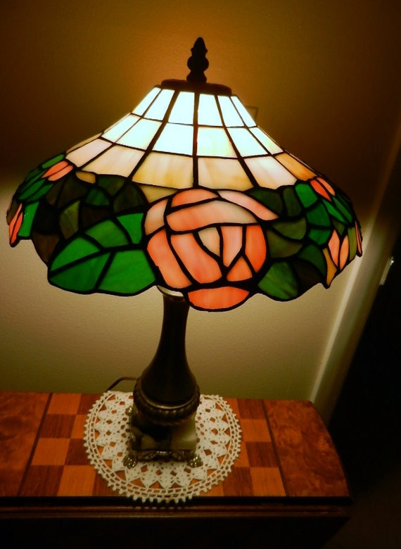 Tiffany style stained glass table lamp with metal and marble base