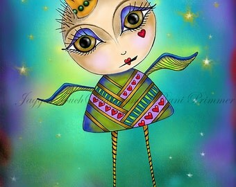 "Title: ""She Flies""  Inspirational colorful Giclee Art Print"