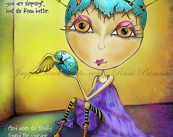 "Title: ""Eyes Wide Open"" Inspirational colorful Giclee Art Print. Seekers - Dream Courage Trust"